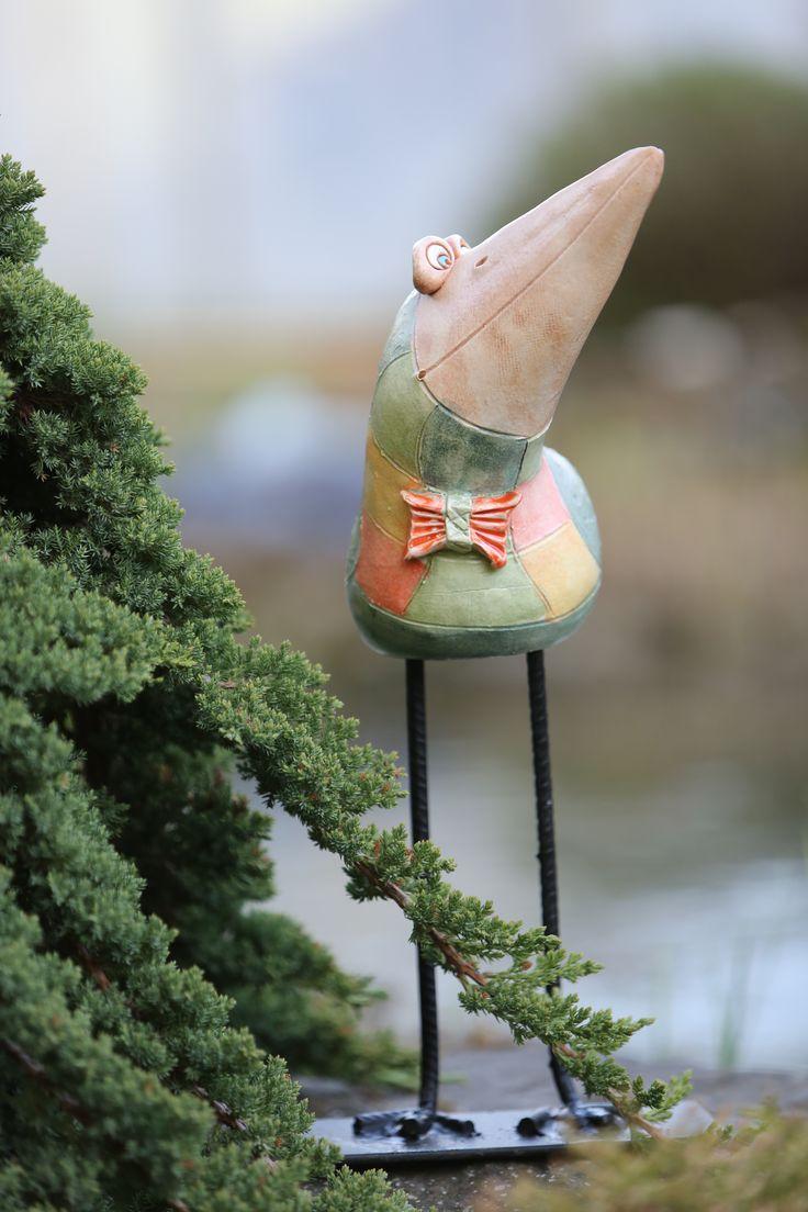 keramický pták na nohách, keramika, Keramika Jandovi