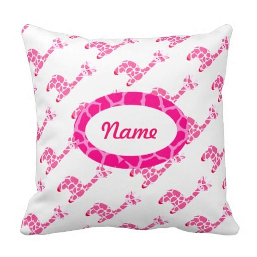 Personalize Giraffe Pink Baby Pillow, simply add your own name and play with the font and background colour to make it uniquely yours!