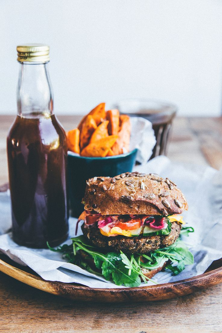 A happy Meal - Veggie burger, sweet potato fries and Kombucha! | healthy recipe ideas @xhealthyrecipex |