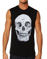 VALLEY SKULL MUSCLE TANK - BLACK WHITE on http://www.surfstitch.com