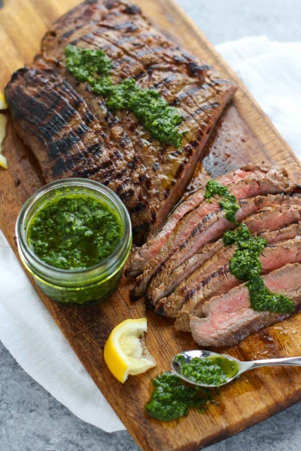 Balsamic Flank Steak with Chimichurri Sauce | The Real Food Dietitians | http://therealfoodrds.com/balsamic-flank-steak-chimichurri-sauce/