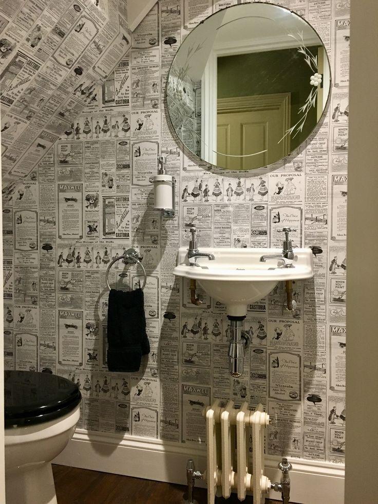 Cloakroom - Galerie wallpaper, MHS Classico period cast iron radiator, Burlington toilet & small cloakroom basin