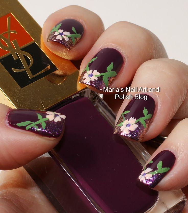 V-shaped floral French nail art