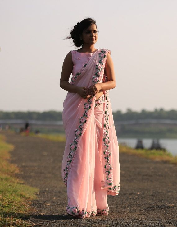 Baby Pink Rose Pure Chiffon Ribbon-Work Saree by EASTANDGRACE on Etsy. Visit www.eastandgrace.com to subscribe to E&G newsletter. This saree is now available on Etsy at https://www.etsy.com/listing/267450871/baby-pink-rose-pure-chiffon-ribbon-work?utm_source=Pinterest&utm_medium=PageTools&utm_campaign=Share.