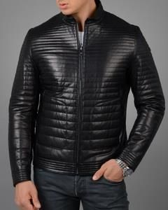 Мужская кожаная стеганая куртка купить