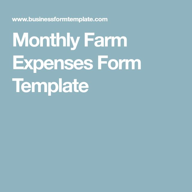 Monthly Farm Expenses Form Template