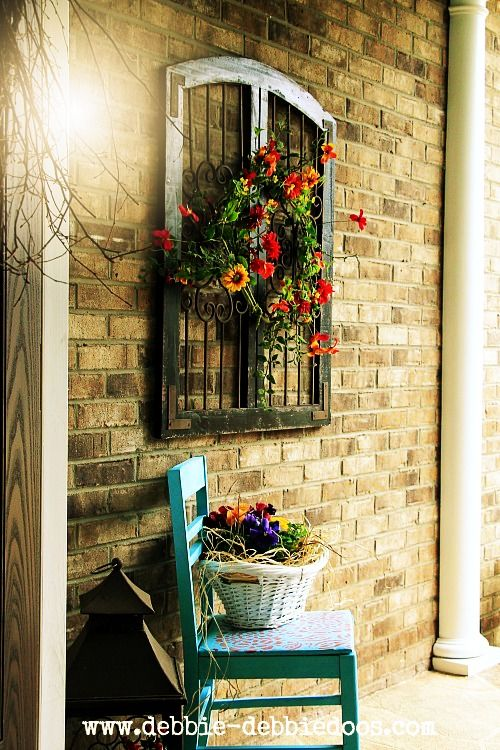 Thrift store makeovers.Thrifty chair for spring porch with spray paint and stencils