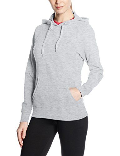 Fruit Of The Loom Ladies Fitted Lightweight Hooded Sweatshirt / Hoodie (240 GSM) (M (10 US)) (Heather Grey) * Be sure to check out this awesome product.