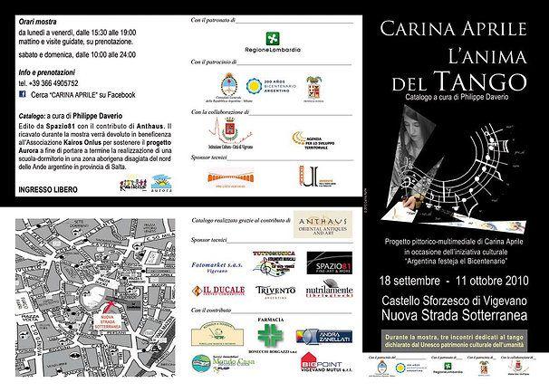Pieghevole CARINA APRILE, L'ANIMA DEL TANGO - 2010 ©  Carina Aprile. Catalogo a cura di Philipe Daverio.    Intermedial Project by Carina Aprile