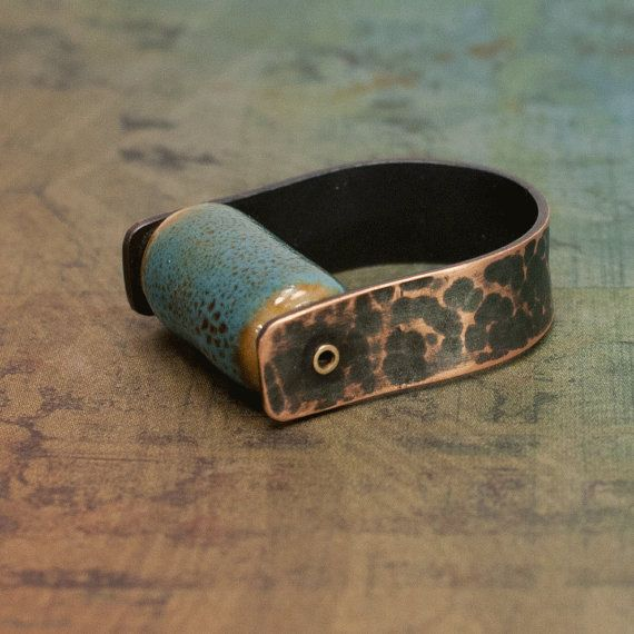 Rivet Copper Ring with Blue Raku Ceramic Spinner Bead 7 by dashery, $25.00