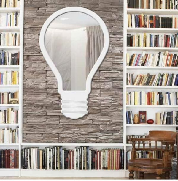 Pintdecor Light Bulb, Quirky Wall Mirror with Ivory Frame and Silver Foil Detail