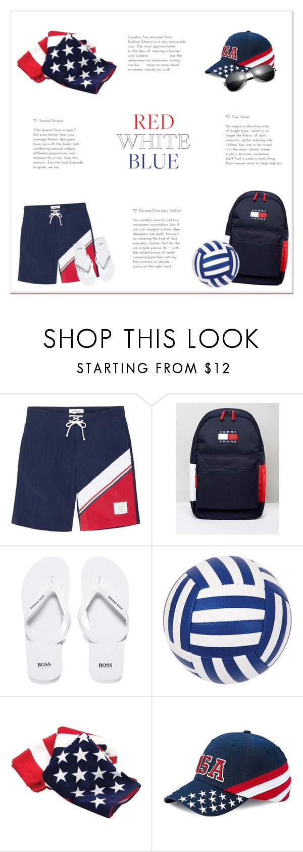 """Red White Blue Beach"" by butterflykisses89 ❤ liked on Polyvore featuring Thom Browne, Tommy Hilfiger, BOSS Orange, Sunnylife, men's fashion and menswear"