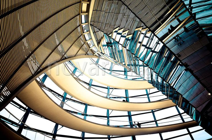 Dome of the Reichstag building in modern color style, government district, Berlin, Germany, Europe