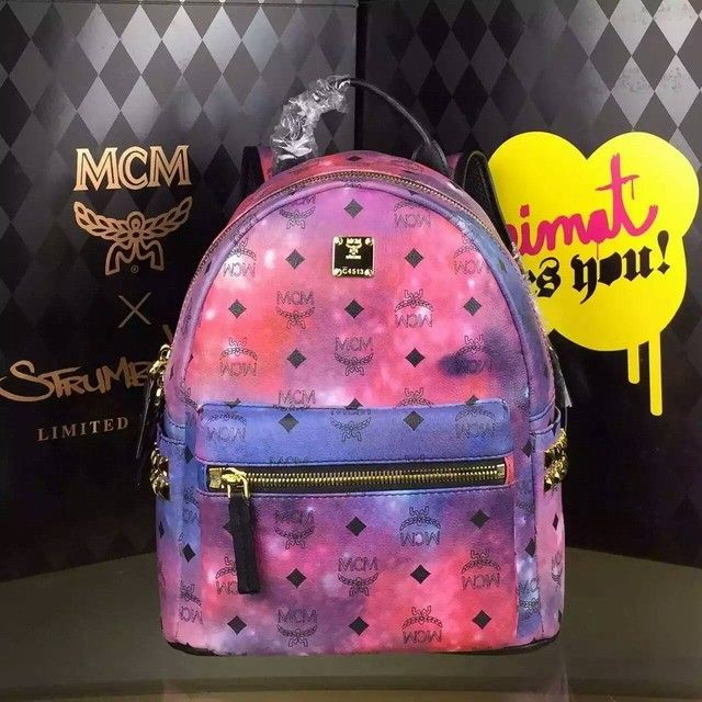 MCM Small Stark Side Studded Backpack In Galaxy
