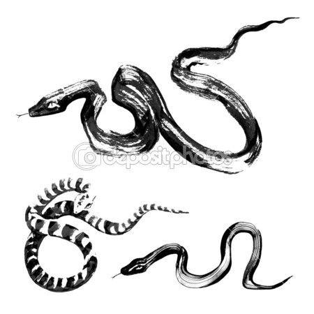 전통 중국어 잉크 그림에 뱀 — 스톡 일러스트 #12259412