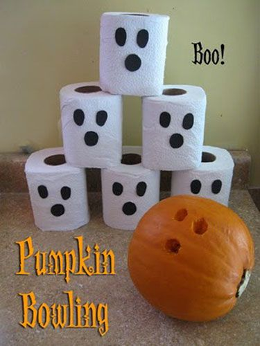 Pumpkin Bowling!   Use your roundest pumpkin to make a fun party game! Tape black felt or construction paper to toilet paper rolls to turn your targets into scary ghosts. Award prizes to the person with the most strikes!