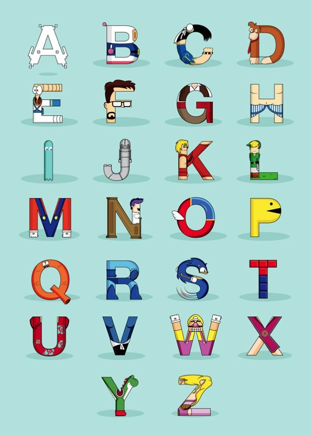 """""""VGC Alphabet"""" by Fabian Gonzalez features characters from classic video games in the form of letters of the alphabet."""