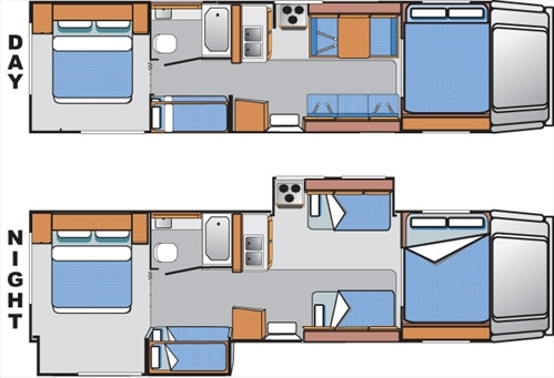 Cabover style fs31 slide out floorplan from el monte rv for Cabover house plans