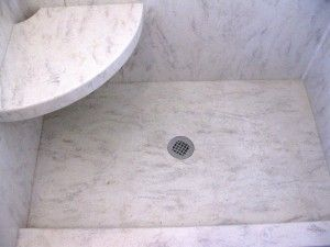 Solid Surface Shower Floor With Marble Feel Bathrooms