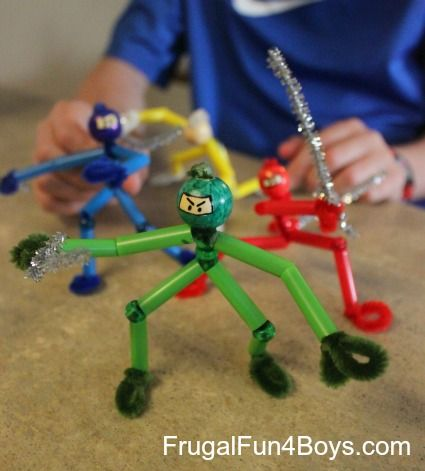 The boys and I had SO MUCH FUN making ninjas out of pipe cleaners and beads this weekend!  (Yes, it was Easter, but they didn't want to decorate eggs!) I saw this idea for bead figures in the most recent Family Fun magazine, except that they did them as a girly craft with pink beads …