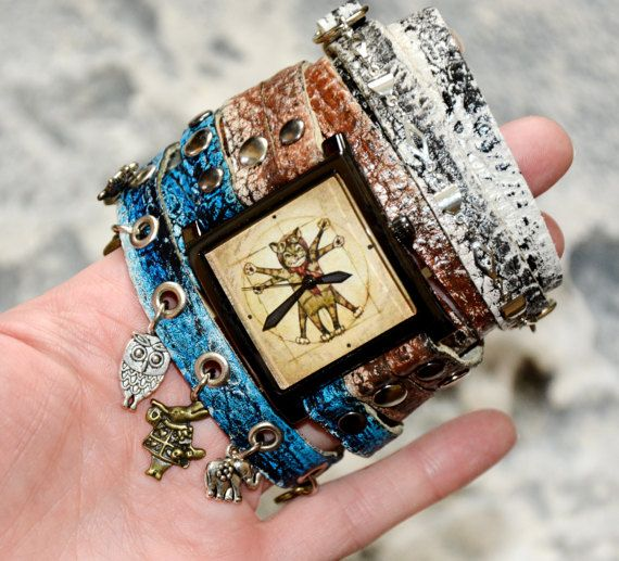 Wrap watch Wrist watches - Da Vinci cat / Watches women Steampunk watch Leather watches / Da Vinci / Blue watch / Denim color / Square watch