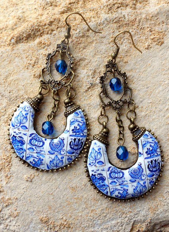 Portugal Azulejo tuile réplique lustre Antique BLUE boucles d'oreilles - COIMBRA 1690-1775 animaux fantaisistes, Bohème, Delft, persan Boho Hippie