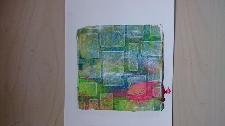 27/kleine gelli, meerdere lagen met als laatste hokjesstencil
