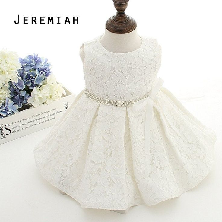 Baby Girl Christening Gown Baptism Dresses Infant Baby Girl Birthday Dress Toddler Princess Lace Flower Dress for 0-2 Years