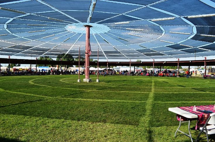Inside and under the dome of the Pow Wow Arbor.JPG