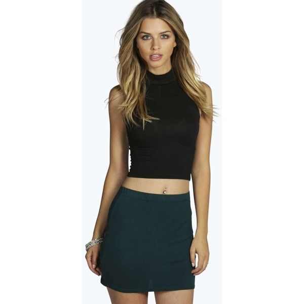 Boohoo Basics Maisy Bodycon Mini Skirt (£5.39) ❤ liked on Polyvore featuring skirts, mini skirts, bottle green, short a line skirt, bohemian skirts, bodycon maxi skirt, a line midi skirt and short maxi skirt