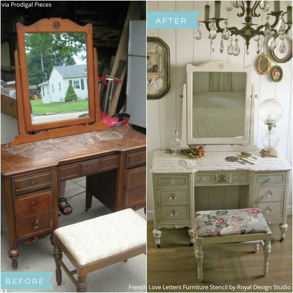 DIY Shabby Chic & Vintage Stenciled Vanity Tutorial: From Curbside ...