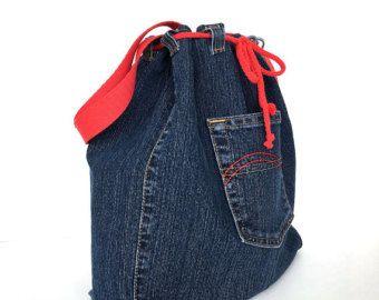 Saquito de cubo, Denim bandolera, bandolera de Jean, reciclado lado monedero, bolsa de viaje de adolescentes, Veagn moda, bolso de totalizador de fin de semana del dril de algodón