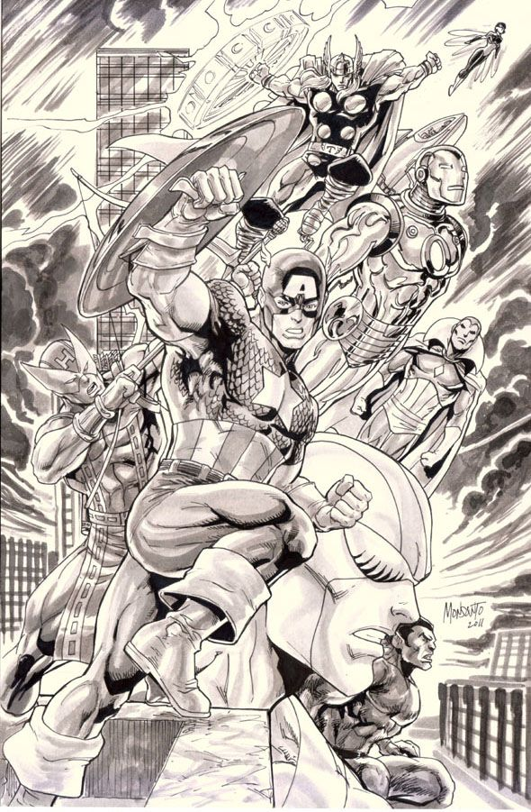 Avengers by Gilberto Monsanto: Avengers Gilberto, Art Illustrations, Book Art, Art Marvel, Avengers Assembl, Marvel Comic, Comic Book, Comic Art, Comic Stuff