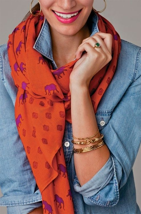 love how this scarf makes a denim shirt less boring