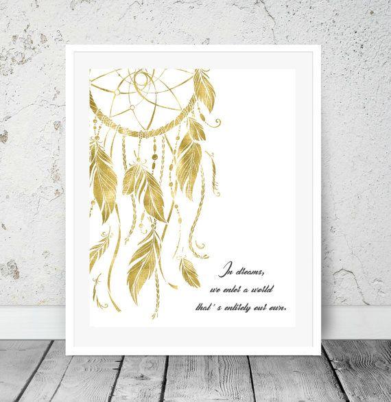 Dreamcatcher Print Boho Gypsy Decor Gold Foil print Bedroom