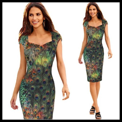 Peacock Feather Print Dress 8 Sizes