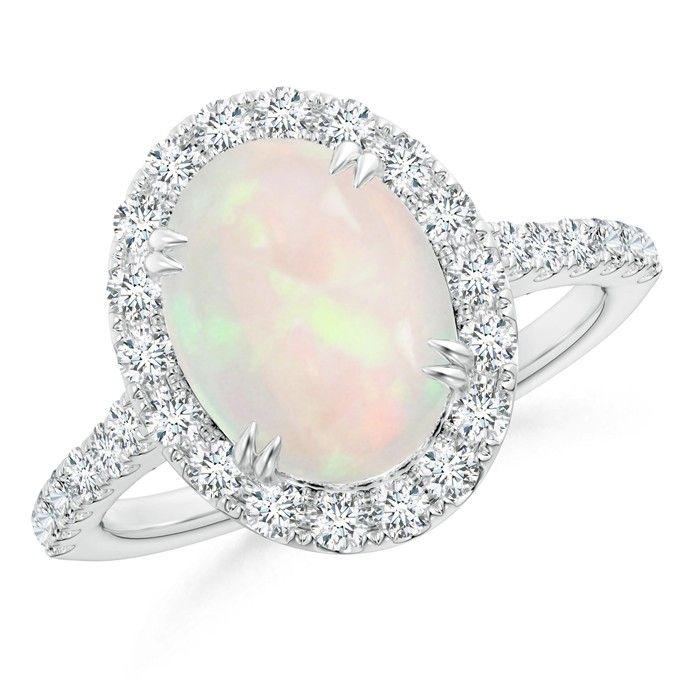 Angara Secured Claw Cabochon Opal and Diamond Halo Ring M5tXf