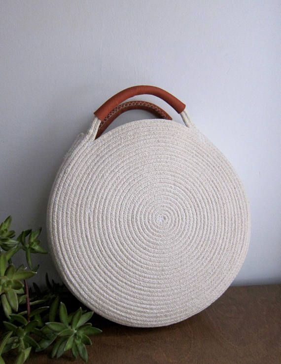 Round Market Bag with Leather Handles  Cotton Rope Purse