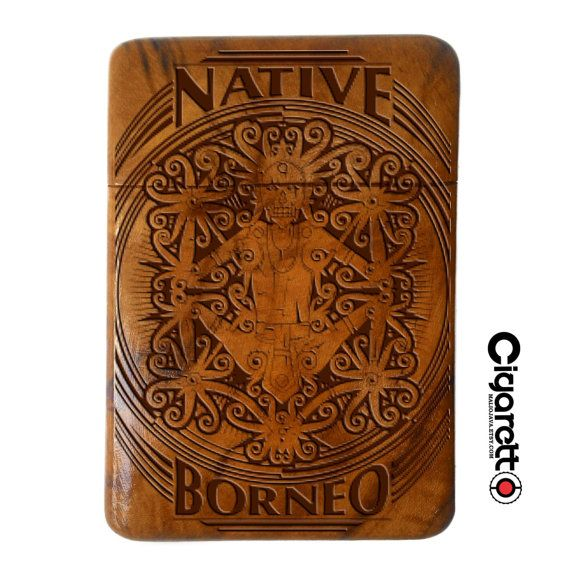 Wooden Cigarette Case Engraved Native Borneo  by Maliojava on Etsy
