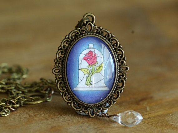 Rose necklace beauty and the beast inspired jewelry for Disney beauty and the beast jewelry