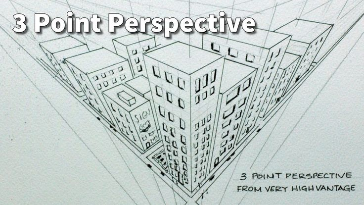 Draw city buildings in 3 point perspective and looking down from above.