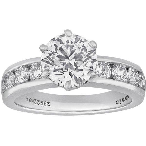 Pre-owned Tiffany & Co. 1.71 Carat Diamond Platinum Engagement Ring found on Polyvore featuring jewelry, rings, engagement rings, diamond jewellery, diamond rings, tiffany & co ring, engagement & wedding rings and pre owned engagement rings