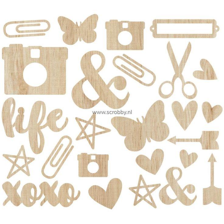 Simple Stories Life In Color Wood Veneer Shapes   €5.24