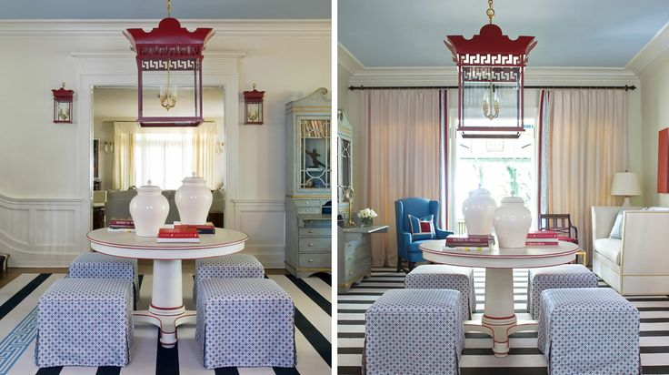 Touches of red in a blue room.  Richmond Designer Showhouse   Tobi Fairley & Associates
