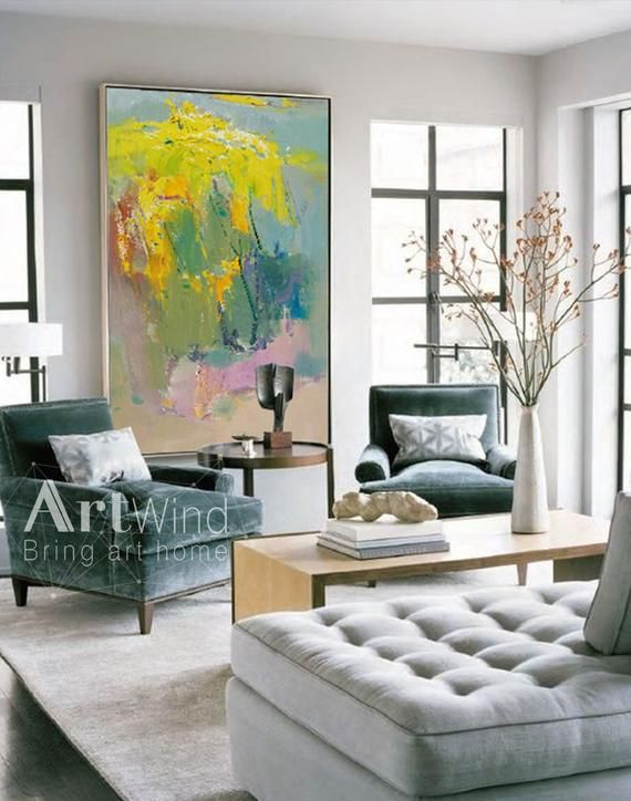 Extra Large Wall Art Abstract Green Painting Yellow Painting Etsy Living Room Grey Elegant Living Room Living Room Modern