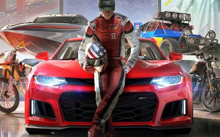 Download wallpapers The Crew 2, 2018, poster, new game, car simulator, Ubisoft, PlayStation 4, Xbox One