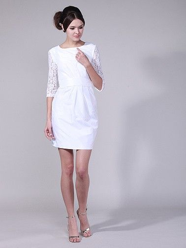 Lace Elbow Length Banded Reception Dress