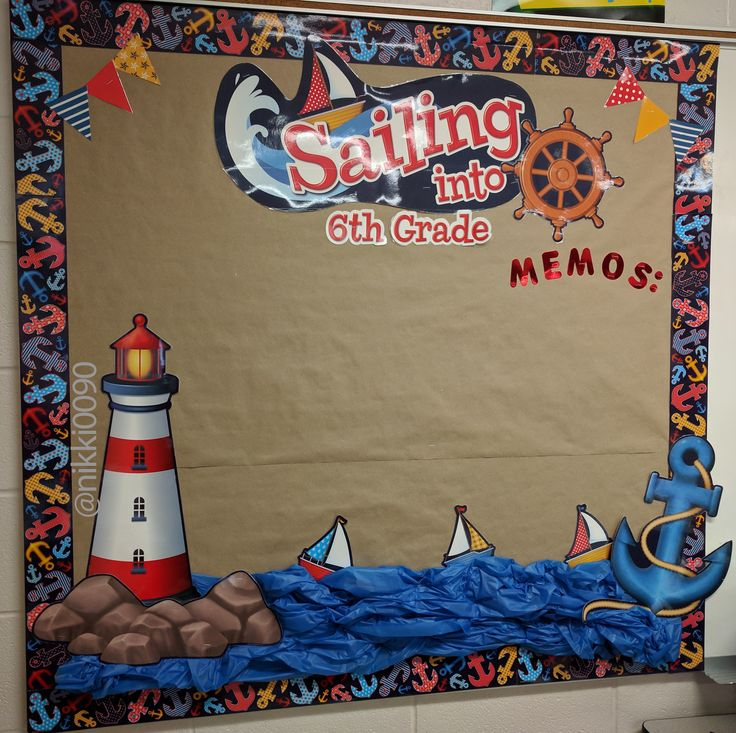 Sailing - Nautical Bulletin Board Decor Set. Purchased set at Lakeshore and used blue plastic table cover (from dollar tree) for a simple and quick water effect.