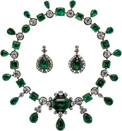 Londonderry Emerald Necklace and Earrings: Marquise daughter Amelia, Castle Ray Vicomtesse (1762-1829), then of her nephew (died 1817) and his widow Caroline (1723-1793), 2nd Earl of Buckinghamshire, 7th Marquess to Rotian (1794-1844), which was hereditary and family to then current.