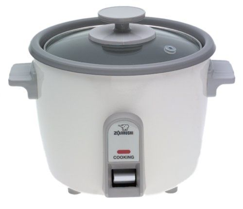 Zojirushi NHS-06 3-Cup (Uncooked) Rice Cooker - Busy cooks cherish rice cookers. This one cooks up to 3 cups of dry rice (white or brown) and keeps it warm up to five hours. A glass lid permits monitoring of the cooking process. Instructions and a cooking chart explain everything. A measuring cup and serving spatula are included. The cooker op...